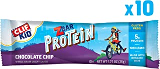 CLIF KID ZBAR - Protein Snack Bar - Chocolate Chip (1.27 Ounce Gluten Free Bar, 10 Count)