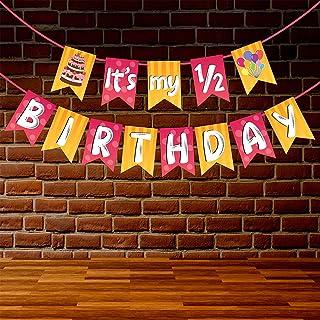 Wobbox 1/2 Birthday Bunting Banner, Pink & Orange, Half Birthday Decorations, Birthday Decoration Item