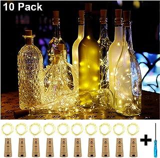 KZOBYD 10 Pack Wine Bottle Lights 20 LED Tiny Craft Bottle Lights Battery Operated Cork Lights for Wine Bottles Christmas Wedding Party Indoor Decor Halloween Festival(Warm White)