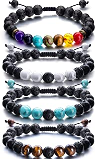 Adjustable Lava Rock Stone Essential Oil Diffuser Bracelet Braided Rope Stone Yoga Beads Bracelets for Men Women