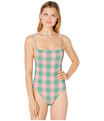 Polo Ralph Lauren Buffalo Plaid Over-the-Shoulder Classic Mio One-Piece Swimsuit (Pink) Women
