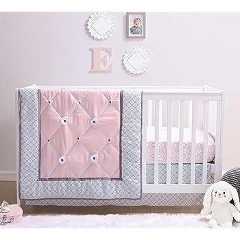 The Peanutshell Princess Crib Bedding Set for Baby Girls | 3 Piece Pink & Grey Nursery Set | Crib Comforter, Fitted Crib Sheet, Crib Skirt Included