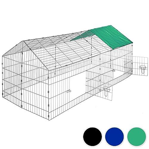 TecTake Jaula recinto para conejo ejecutar con parasol exterior animales 180 x 75 x 75 cm
