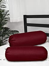 Clasiko Cotton Bolster Covers; Set of 2; 300 TC; Maroon