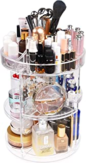 Kare & Kind 360-Degree Acrylic Rotating Makeup Organizer - Stores Make-up, Cosmetics, Toiletries and More - 4 Adjustable Trays, 2X Removable Lipstick Holders, Earring Slots - Transparent Design