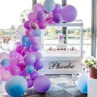 Balloon Garland Kit -134Pcs Pink, Blue, Purple, Rose Gold Confetti Sml to Xlrge Balloons - 16' Decorative Strip with Glue Sticky Dots - Wedding, Baby Shower - Balloon Arch Kit for Party Decorations