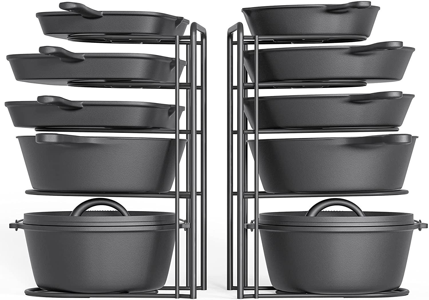 2 Pack - Heavy Duty Pot Rack Organizer, 5 Tier Pan Rack Holder, Holds Cast Iron Skillets, Dutch Oven, Frying Pan, Griddles - No Assembly Required, 15.9'' Height