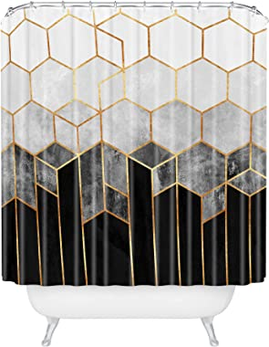 "Society6 69785-shocur Elisabeth Fredriksson Charcoal Hexagons Shower Curtain, 72"" x 69"", Black and White"