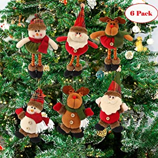 FUNYU Christmas Plush Ornaments, Xmas Hanging Decoration Santa Clause Snowman Reindeer Doll for Christmas Tree Pendant Stocking Ball Bell Holiday Party Decor (6 Pack)