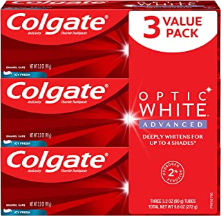 Colgate Colgate optic white advanced teeth whitening toothpaste, icy fresh - 3.2 ounce (3 pack), 3.2 Ounce
