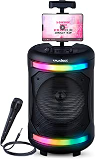 $139 » Best Portable Karaoke Machine for Adults and Kids Powerful Bluetooth Audio Speakers with Vibrant LED Lights and Plug-in Mi...