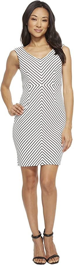 Adrianna Papell - Petite Striped Ottoman Sheath Dress