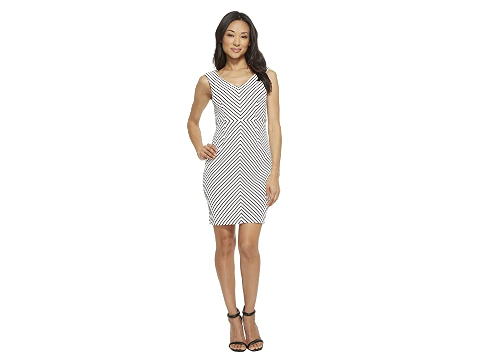 Adrianna Papell Petite Striped Ottoman Sheath Dress (Ivory/Black) Women
