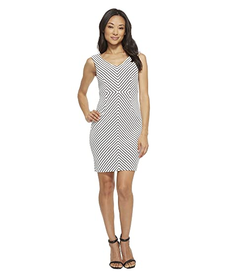 Adrianna Papell Petite Striped Ottoman Sheath Dress at Zappos.com