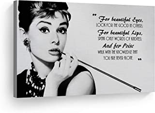 Smile Art Design Audrey Hepburn Breakfast at Tiffany`s Quotes Canvas Print Decorative Art Modern Wall Decor Artwork Bedroom Living Room Wall Art Ready to Hang Made in The USA 8x12