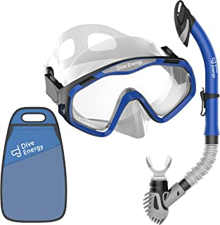 Dive Energy Sport Design Adult Snorkel Set - Anti-Fogging & Tempered Glass - No Leaks Easy Breathing Dry Snorkel - Carrying Bag Included - for Women and Men