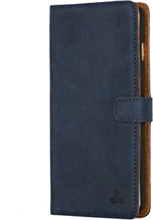 iPhone 6 Plus Case, Snakehive Vintage Collection Apple iPhone 6 Plus Wallet Case in Nubuck Leather with Credit Card/Note Slot (Navy)