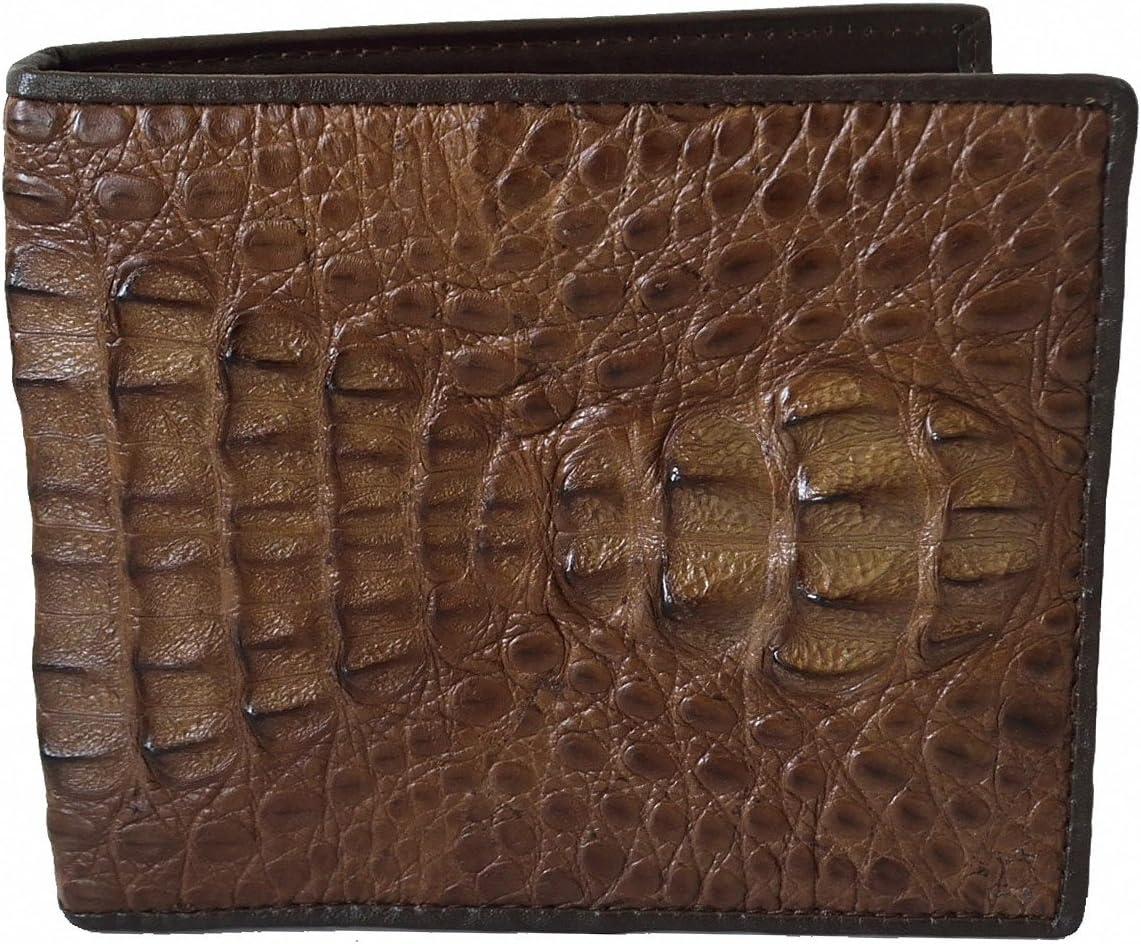 Authentic Raleigh Mall M Crocodile Skin Men's Reservation Head Bifold Leather Dark Brown