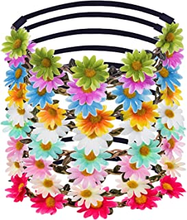 eBoot Lady Girl Headbands Multicolor Daisy Flower Crown Floral Garland for Festival Wedding Party, 9 Pieces