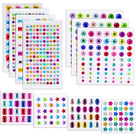 Rhinestone Heart Adhesive Diamond Gems Gemstones Stickers Hearts Crafts 3D puff