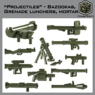 "CombatBrick Projectiles Set: bazookas, Grenade launchers, Mortar. Custom Modern Warfare 2"" Accessories (Military Green)"
