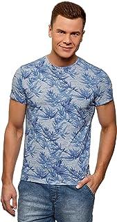 Hombre Camiseta Estampada con Cuello Redondo