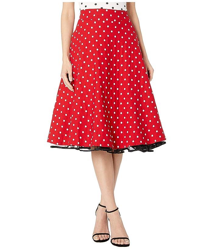 Unique Vintage Retro Style Red White Polka Dot High-Waisted Vivien Swing Skirt (Red/White Dot) Women