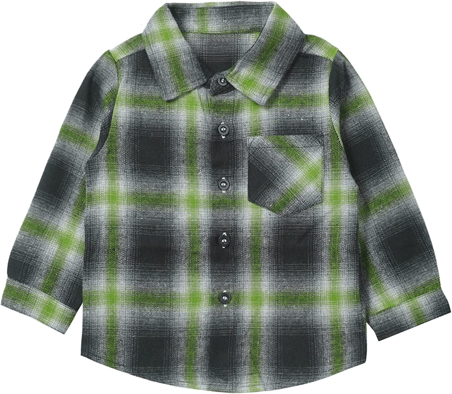 Max 89% OFF Yartina Toddler Baby Challenge the lowest price Boys Long Shirt Sleeve Flannel Plaid Button