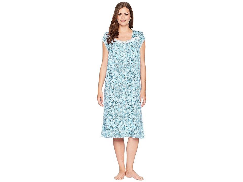 Eileen West Cotton Modal Waltz Nightgown (Indigo Ground/White Geo) Women