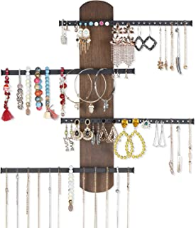 Keebofly Wall Mounted Jewelry Organizer Rustic Wood & Ample Storage with 4-Tier Jewelry Rack for Bracelets, Necklaces, Earrings, Rings (Walnut)