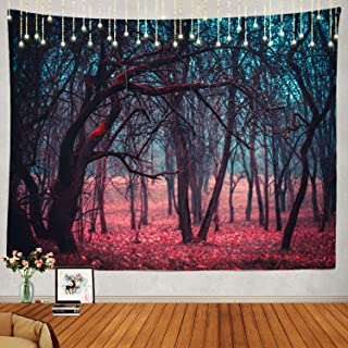 Shrahala Stranger Red Forest Tapestry, Mystic Green Moonlight Wall Hanging Large Tapestry Psychedelic Tapestry Decorations Bedroom Living Room Dorm(51.2 x 59.1 Inches, Red 2)
