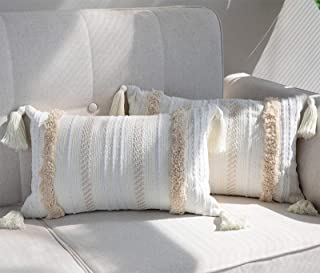 Best blue page Set of 2 Lumbar Decorative Throw Pillow Cover for Couch Sofa Bedroom Living Room - Woven Tufted Boho Cushion Cover, Oblong Accent Pillowcase 12X20 Inch Yellowy Cream Review