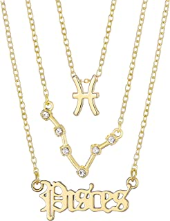 Neovivi 3pcs Zodiac Sign Necklaces Gift for Women Men Crystal Pendant Constellation Necklace Birthday Christmas Jewelry Ch...