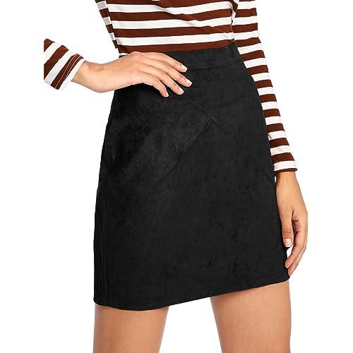 814a4d6da81523 MAKEMECHIC Women's Zipper Back A-line Bodycon Mini Faux Suede Skirt