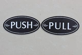 """Meijiafei Outdoor/Indoor Push and Pull Oval Door Sign 5""""x 2.5"""" for Business Store Shop (Black)"""