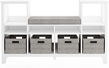 MARTHA STEWART Living and Learning Kids' Reading Nook - White: Wooden Storage Bookshelf Organizer with Seat Cushion, and