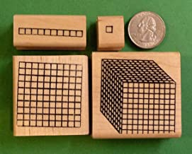 Place Value Number Grid Rubber Stamp Set of 4-1's-10's-100's-1000's - Wood Mtd