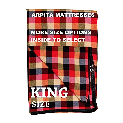 Shri krishan kripa handloom Cotton Mattress Cover for King Size Bed with Zip(Multicolour, 78x72x6-inches)