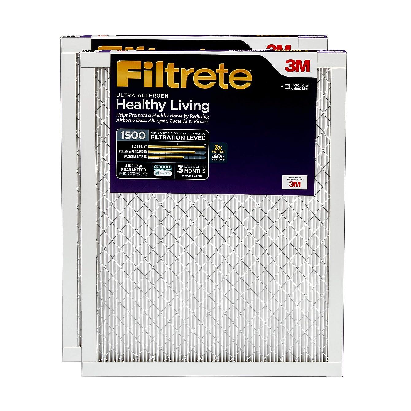Filtrete 24x24x1, AC Furnace Air Filter, MPR 1500, Healthy Living Ultra Allergen, 2-Pack