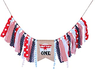 WAOUH Highchair Banner for 1st Birthday Party - Red and Blue Birthday Banner Airplane Party Supplies for Baby Shower - Airplane for Birthday Party Decorations (Airplane Party Supplies Banner)