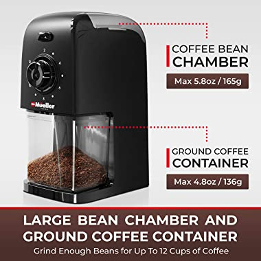 Mueller SuperGrind Burr Coffee Grinder Electric with Removable Burr Grinder Part - Up to 12 Cups of Coffee, 17 Grind Settings