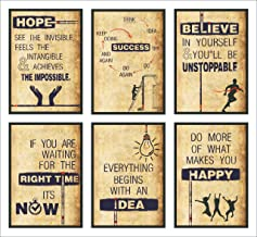 Vantagekart Hope, Success, Believe, Time, Idea, Happy Inspirational Motivational Self Adhesive Laminated Posters (Paper, 12x18-inch, Brown) - Set of 6