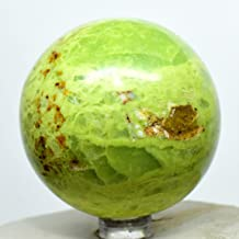 59mm Apple-Green Opal Sphere Sparkling Natural Crystal Decor Ball Polished Mineral Stone - Madagascar + Stand