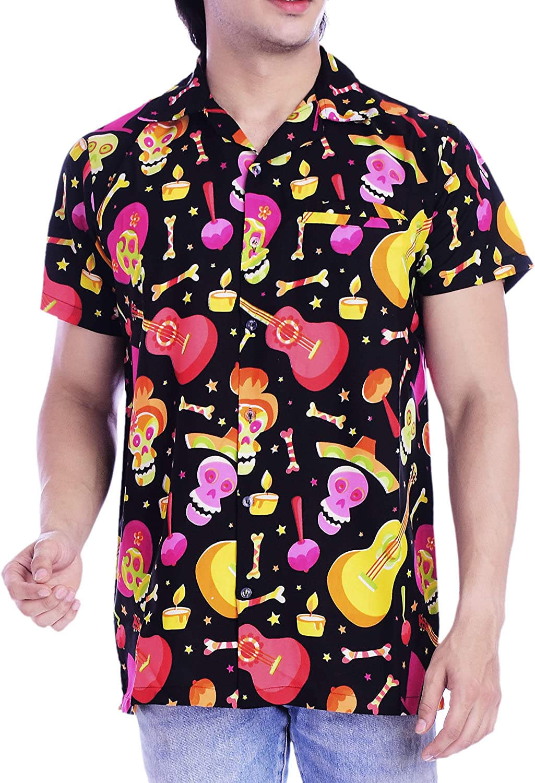 Virgin Crafts Hawaiian Shirt for Men Beach Holiday Party Casual Skull Printed Halloween Shirt