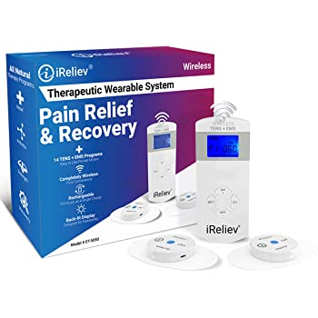 iReliev Wireless TENS + EMS Therapeutic Wearable System Wireless TENS Unit + Muscle Stimulator Combination for Pain Relief, Arthritis, Muscle Conditioning, Muscle Strength