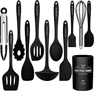 Kitchen Utensil Set- Cooking Utensils-Silicone Kitchen Utensils -Umite Chef Nonstick Cookware with Spatula Set - Colored Best Kitchen Tools Kitchen Gadgets with Utensil Crock(Black) (Black)