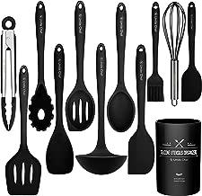 Kitchen Utensil Set- Cooking Utensils-Silicone Kitchen Utensils -Umite Chef Nonstick Cookware with Spatula Set - Colored Best Kitchen Tools Kitchen Gadgets with Utensil Crock(Black) (Black)