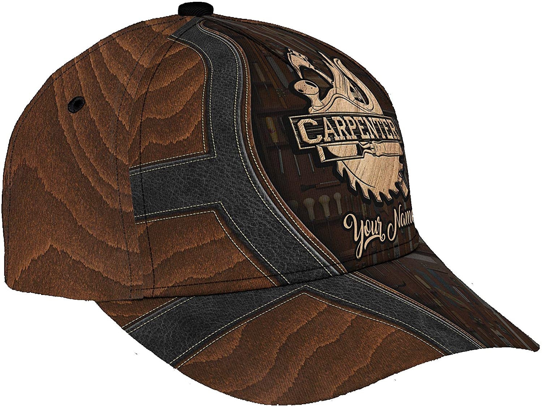 Personalized Name 3D Printed Unisex Cap Hat Carpenter Personalized Name Cap Text Name Customized Classic Cap Snapback Cap Baseball Cap for Men Women Sports Outdoor