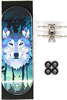 Skull Fingerboards Howling 34mm Complete Professional Wooden Fingerboard Mini Skateboard 5 PLY with CNC Bearing Wheels