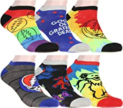 Grateful Dead Socks Adult Tie Dye Dancing Bears And Steal Your Face 6 Pack Ankle Socks